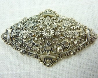 Antique French Georgian 18K Gold & Silver Rose Cut Diamond Large Brooch
