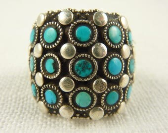Size 8.5 Vintage Sterling and Turquoise Ring with Inside Detail
