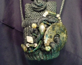 Handmade Jewelry - Twined Treasure Pouch - Basket Necklace