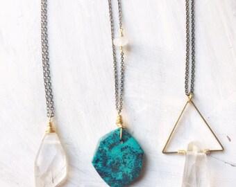 Modern Brass Necklace, Azurite, Silver Rutilated Quartz, Geometric Jewelry, Gemstone Jewelry, Minimalist Jewelry, Triangle Necklace