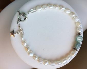 Bracelet — Sterling Star, Green Kyanite and Freshwater Pearls