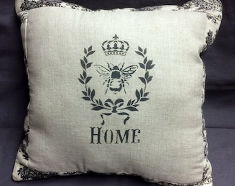 French  Bee with Crown Pillow Surrounded by Black Toile, French Country, French Farmhouse Decor, Burlap Backing, French script Pillow