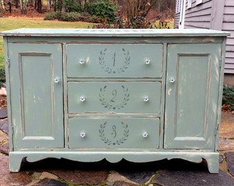 Sideboard Buffet Chalk Painted, MCM, French Stencils, French Country, French Farmhouse, PaRiS aPaRtMeNt ChiC, Boho Chic!, Farmhouse Chic