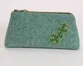 Harris tweed purse,  tweed pencil case, tweed zipper case, crochet lichen, nature study, nature gift, gardeners gift, ELIN, green purse