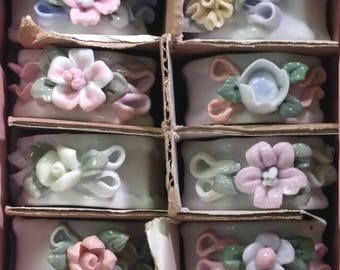 Porcelain Flower Napkin Ring Set of 8 Capidimonte Style Applied Different Florals #B459