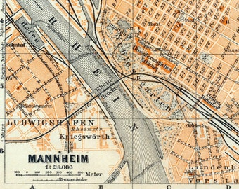 Antique Map of Mannheim, Germany - 1909 Mannheim Map