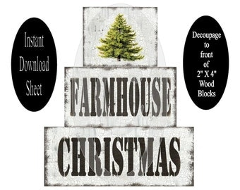 Printable 2 X 4 Block Sheet , Farmhouse Christmas , Decoupage , DIY , Chunky , Stackable , Prim , Instant Download , Grungy , Tree