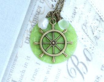 Green Shell Necklace Wheel Necklace Green Nautical Pendant Necklace Ocean Necklace Ship Wheel Gift