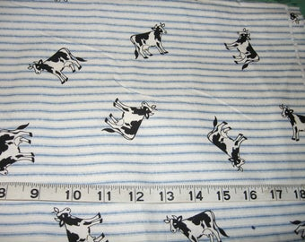 Farm cows fabric blue stripes  white cotton sewing by the yard