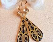 SALE 20% Off Art Nouveau Earrings - Black - Formal Event Jewelry - Elegant - MAXIMs Champagne