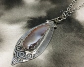 Odin's Eye etched sterling silver double-sided pendant with Botswana agate