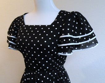SALE 1970s Miss Elliette Black and White Polka Dot Dress tag size 10