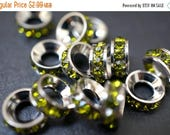 APRIL SALE Closeout Sale - High Quality Rhodium Plated Peridot Green Rhinestone Spacers - 10mm - 4 pcs