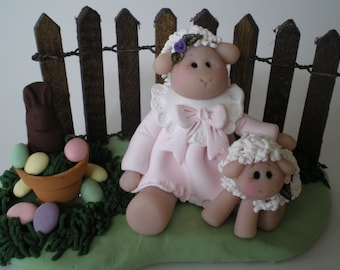 Polymer Clay Easter Lamb or Sheep Scene by Helen's Clay Art
