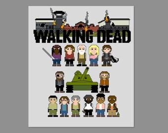 Walking Dead Season 4A Prison Pixel People Character Cross Stitch PDF PATTERN Only