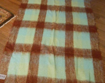Vintage Mohair Blanket Throw made by Glen Cree in Scotland, Plaid, Brown, Green, Aqua