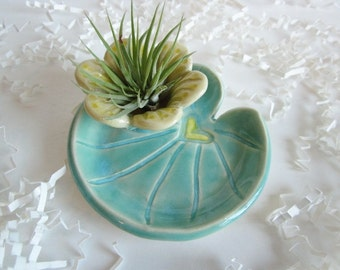 Lily pad Air plant planter, Mother's day gift, Cubicle decor, ceramic ring holder, air planter, Desk decor