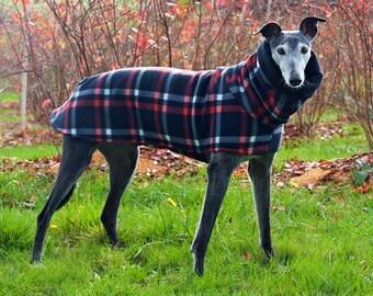 Black Plaid Fleece Greyhound Coat, size medium--Greyhound Coat/Fleece Greyhound Coat/ Snood Coat/Sighthound Coat/Winter Fleece Coat/