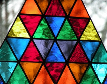 Stained Glass Triangle Multi colored with Star of David