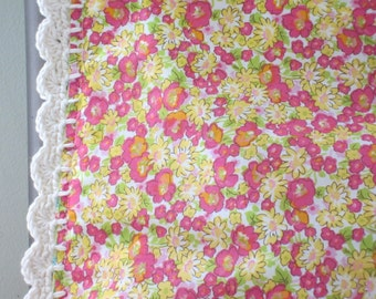 Pillowcase with Crochet Trim - Floral Lawn