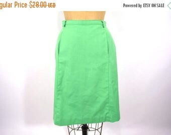"50% OFF SALE // 1970s green skirt | green a line pocketed summer skirt | vintage 70s skirt | W 25"""