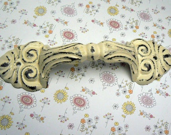 Barn Door Gate Handle Pull Cast Iron Cream Off White Shabby Style Chic Distressed Ornate French Paris Chic Large Swirl Cabinet Drawer Pull