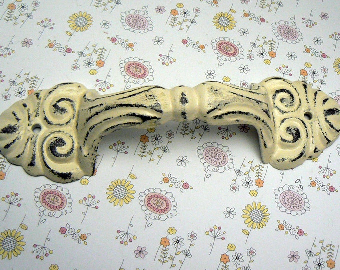 Barn Door Gate Handle Pull Cast Iron Cream Off White Shabby Elegance Distressed Ornate French Paris Chic Large Swirl Cabinet Drawer Pull