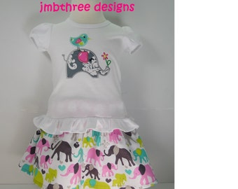 Custom Boutique Embroidered  Elephant skirt set size 4t-6y