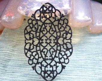 Elegant Gothic Filigree Black metal Pendant-Black ornate large Filigree Pendant