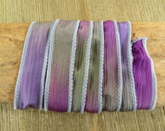 French Lavender - Hand Dyed Silk Wrap Bracelet or Necklace Ribbon - Hand Dyed Ribbon - sr32