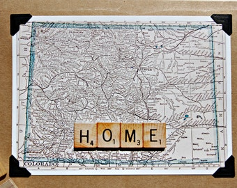 Vintage map scrabble tile Colorado home handmade blank inside greeting card