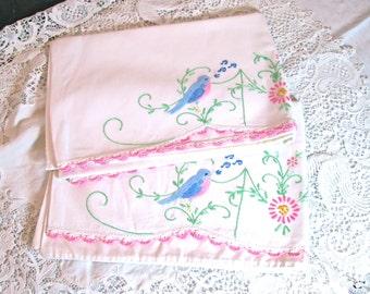 Set Vintage Pillowcases/ Hand Embroidered Singing Blue Birds/Spring/Vintage Bedding/Vintage Textiles/Wedding Gift