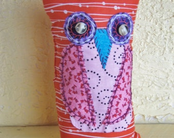 Owl, Cloth Doll, Rustic, Vintage, Country,OOAK,Shelf Sitter, Winter