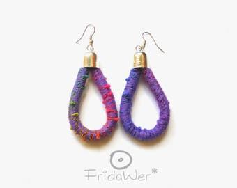Multicolored Drop Earrings-ThousandTwist Carnival Purple in cotton-Fiber wrapped earrings Pop boho Chandelier earrings,textile jewelry