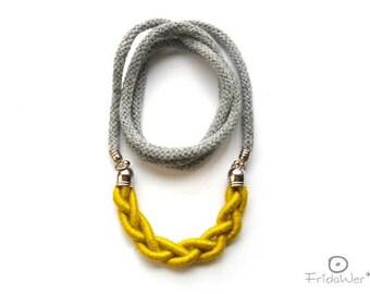 Yellow Long Braid Necklace Sautoir-ThousandBraids Ginkgo- textile necklace jewelry
