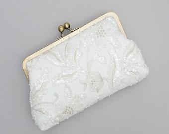 Beaded Bridal Clutch | Wedding Purse | Ivory Clutch [Florence Clutch: Ivory]