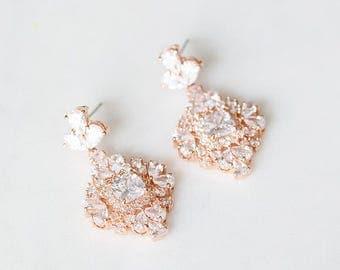 Rose Gold Crystal Earrings | Dangle Bridal Earrings | Drop Wedding Earrings | Vintage Inspired Bridal Jewelry [Roslyn Earrings]