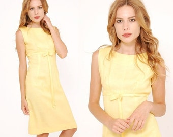 FALL SALE Vintage 60s YELLOW Linen Dress Retro Shift Dress Rockabilly Style Dress with Bow