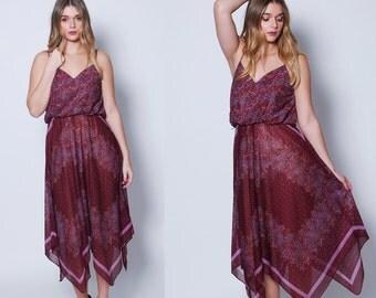 Vintage 70s FLORAL Scarf Dress Plum Pixie Hem Boho Sun Dress ASYMMETRICAL Gradient Floral Dress