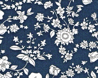 Liberty Tana Lawn Fabric Garden of Dreams Collection Fat Quarter Summer Blooms C Navy Blue