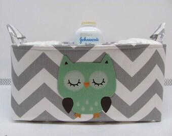 SALE Diaper Caddy - APPLIQUED Owl Fabric Basket Storage - Custom Design - Diaper Bag - Baby Gift- Nursery Decor - Chevron Zigzag - RTS