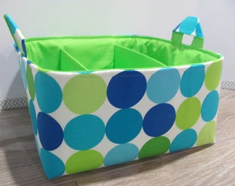 SALE Fabric Diaper Caddy - Storage Container Basket - Organizer Bin - Tote Bag - Bucket- Baby Gift - Nursery - Disco Dots Blue/Green- RTS