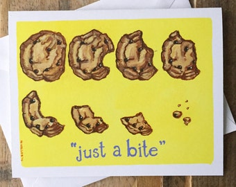Greeting Card Blank Inside - Chocolate Chip Cookie Painting