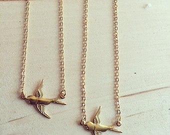 Gold sparrow necklace, gold bird necklace, vermeil bird necklace, gold charm necklace