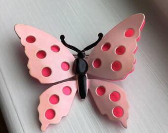 Vintage 1960's Two Tone Pink Enamel Butterfly Brooch Pin