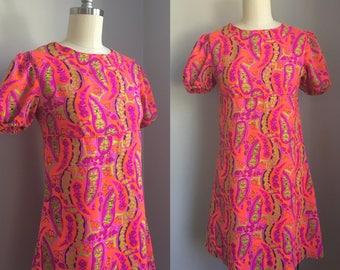 Mod Vintage 1960s Neon Paisley Print Puff Sleeve Baby Doll Empire Waist Mini Dress Size XS