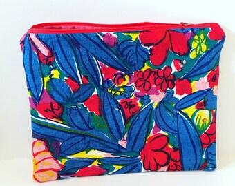 Vintage Fabric Zipper Pouch/ Makeup Bag/ Pouch/ Tropical