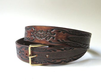 Dark Brown vintage Hand Stained Tooled Leather Belt with Ornate Organic Design