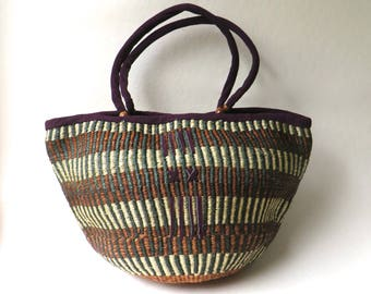 Large vintage Striped Green, Brown and Natural Sisal Woven Market Bag / Farmers Market Tote / Beach Bag