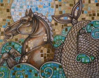 Original Sea Horse / Hippocamp Art by Lynnette Shelley